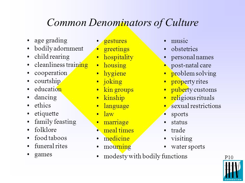 Common Denominators of Culture