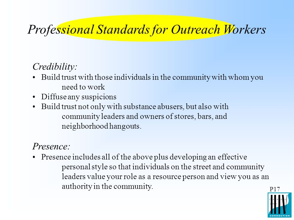 Professional Standards for Outreach Workers