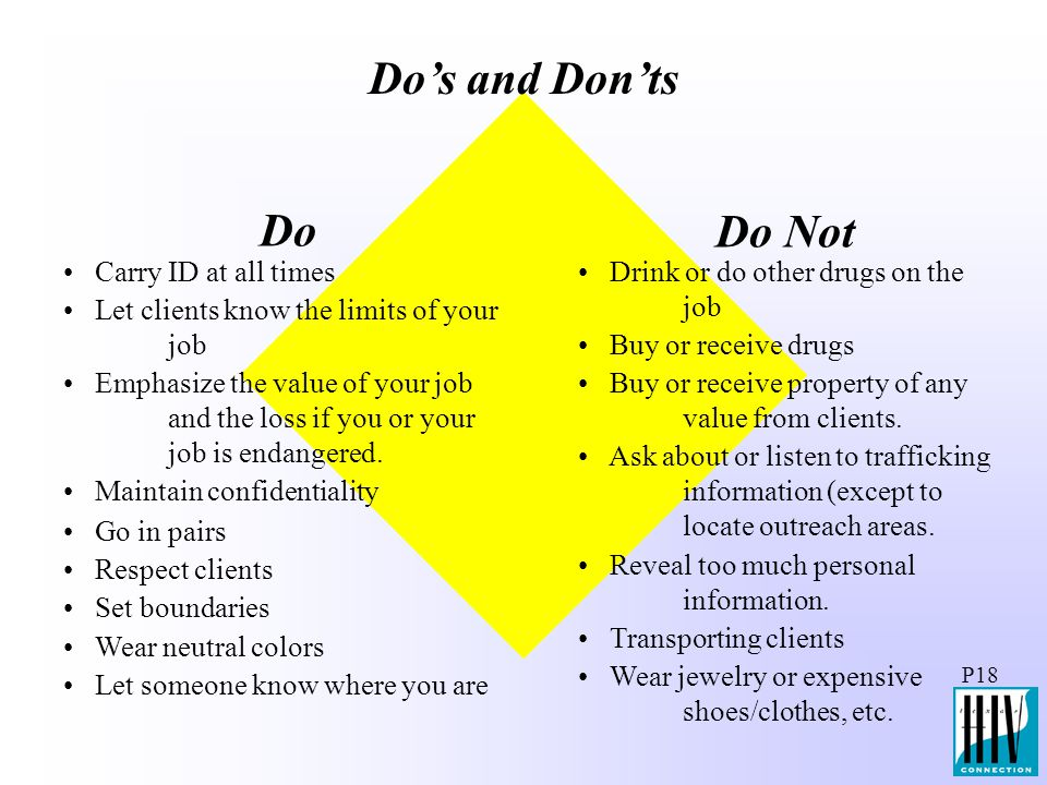 Do's and Don'ts Do Do Not