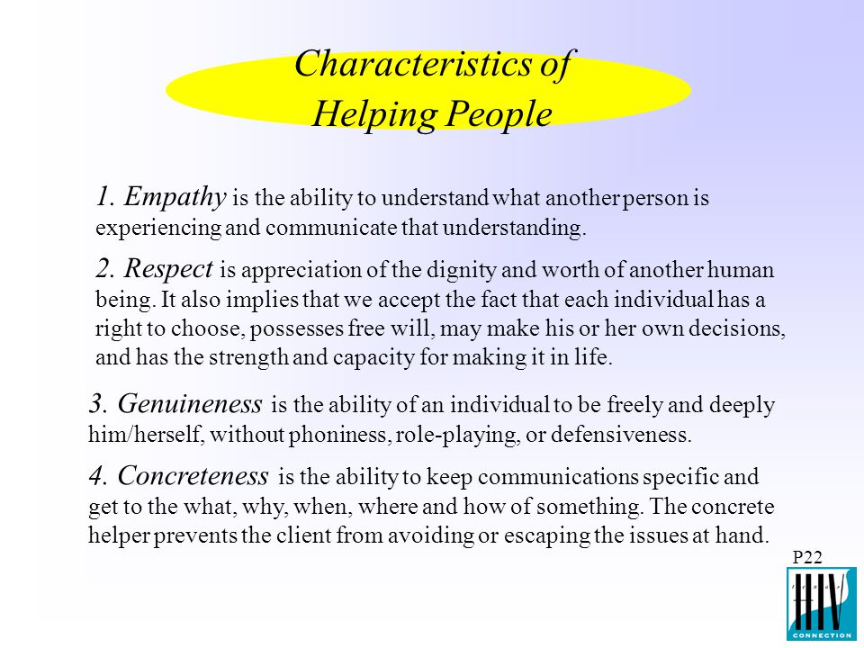 Characteristics of Helping People