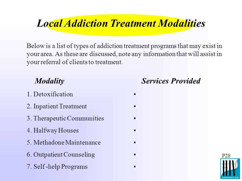 Local Addiction Treatment Modalities