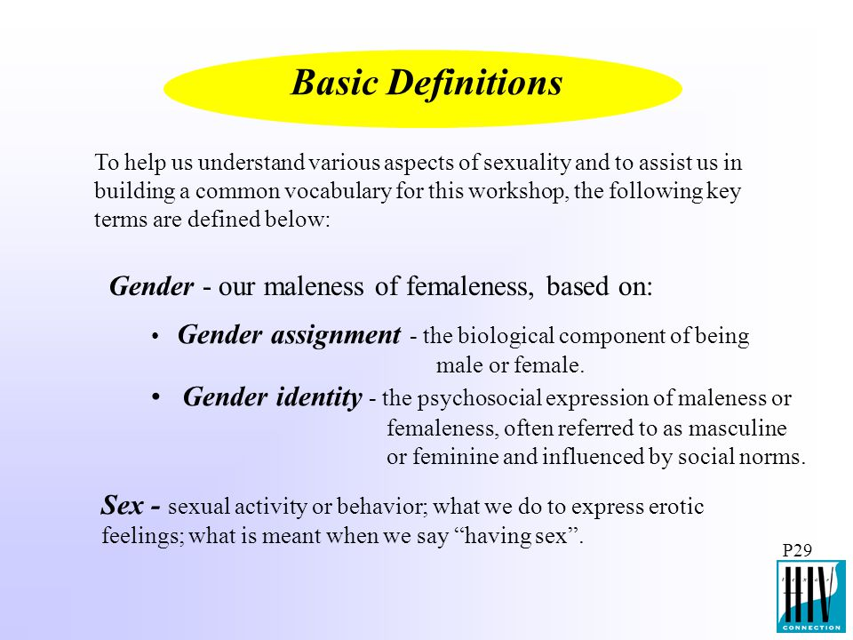Basic Definitions Gender - our maleness of femaleness, based on: