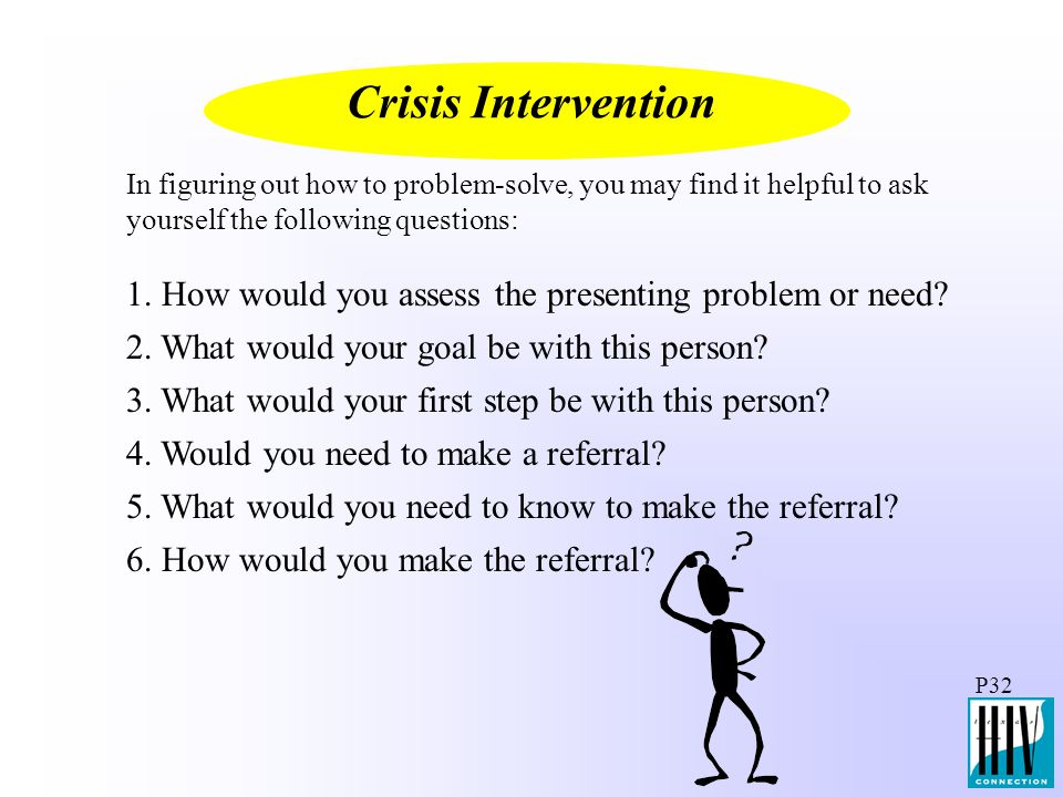 Crisis Intervention In figuring out how to problem-solve, you may find it helpful to ask yourself the following questions: