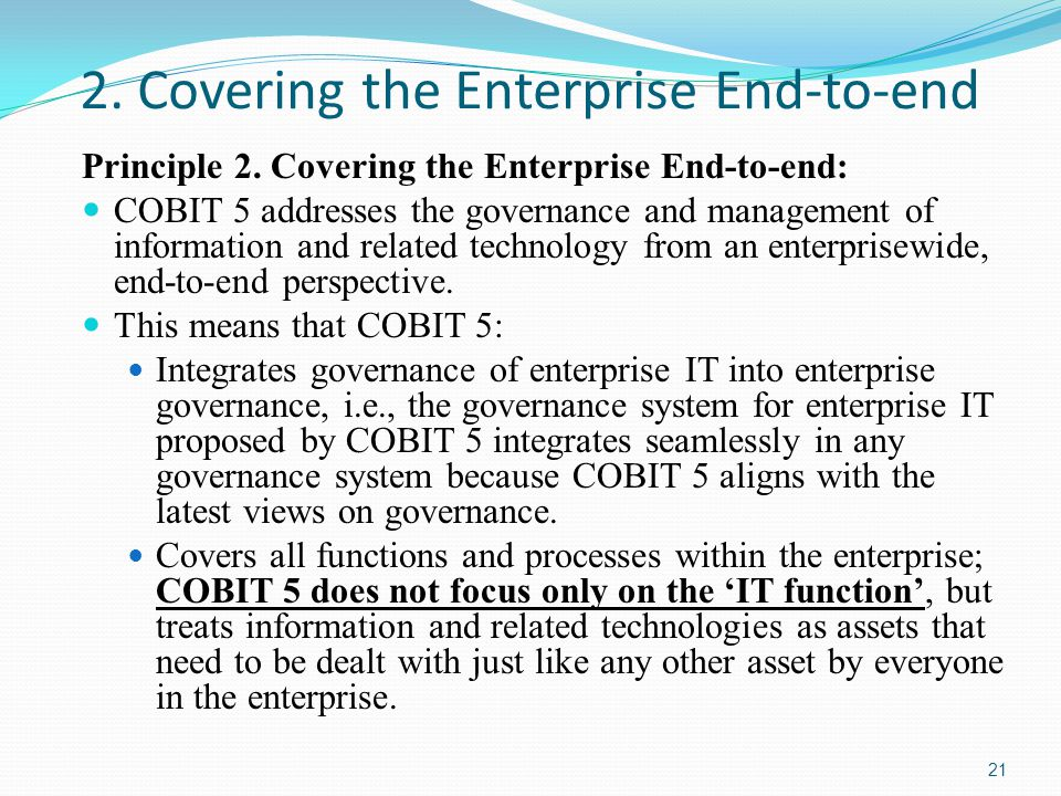 2. Covering the Enterprise End-to-end