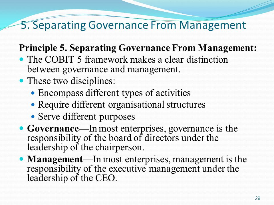 5. Separating Governance From Management