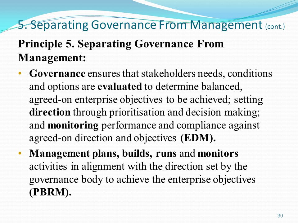 5. Separating Governance From Management (cont.)