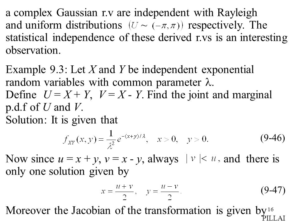 Moreover the Jacobian of the transformation is given by