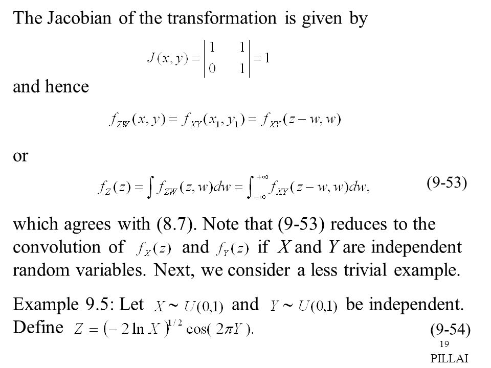 The Jacobian of the transformation is given by