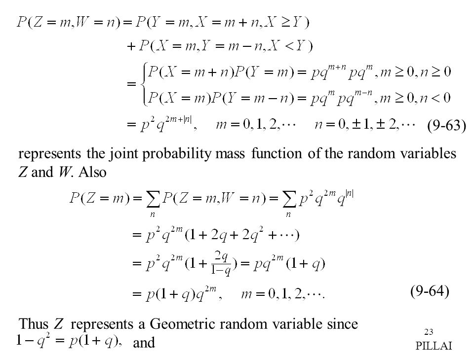 represents the joint probability mass function of the random variables