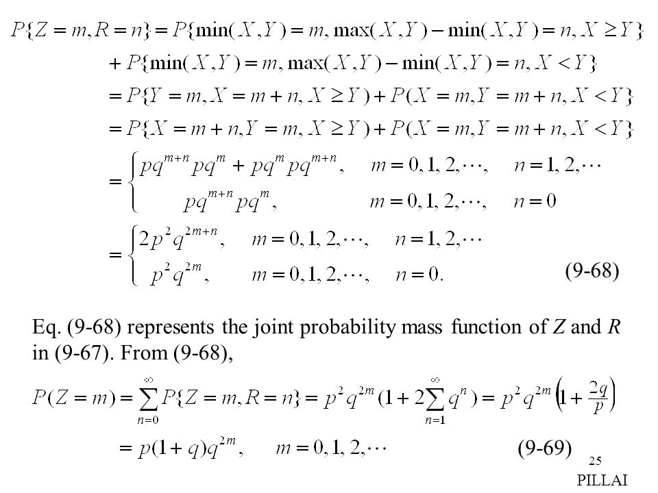 Eq. (9-68) represents the joint probability mass function of Z and R