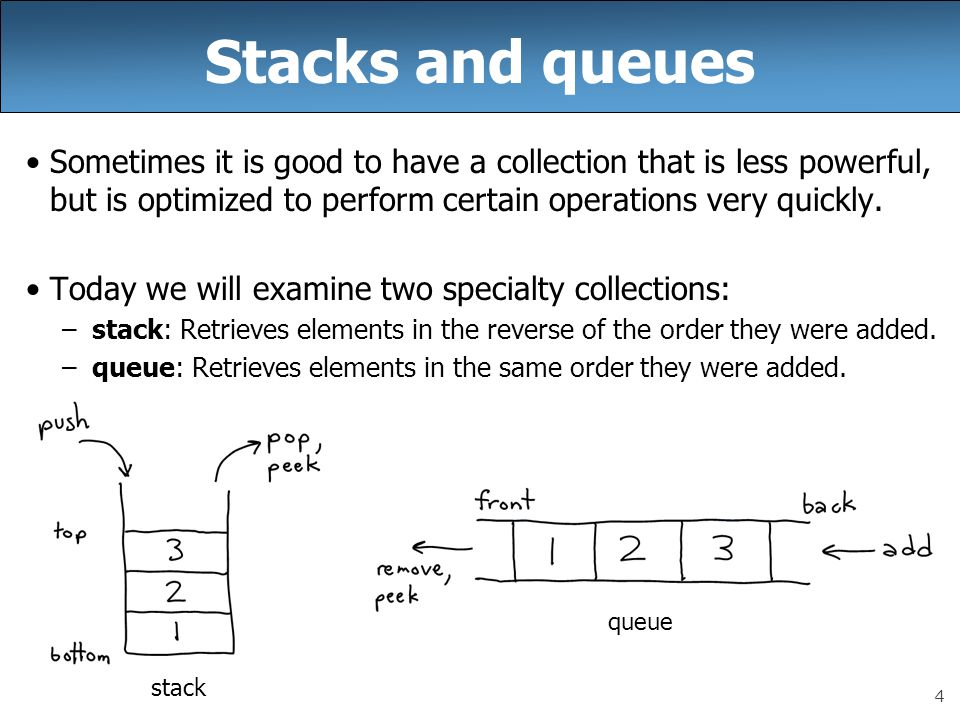 Stacks and queues Sometimes it is good to have a collection that is less powerful, but is optimized to perform certain operations very quickly.