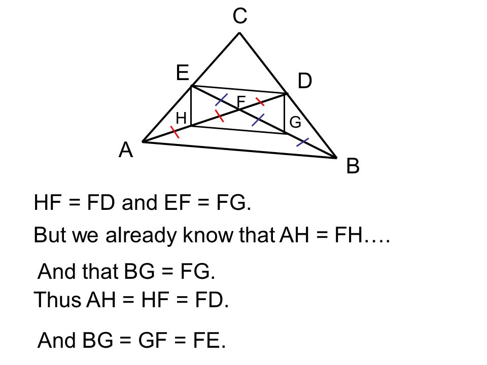 But we already know that AH = FH…. And that BG = FG.
