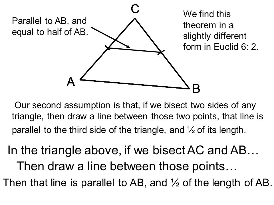 In the triangle above, if we bisect AC and AB…