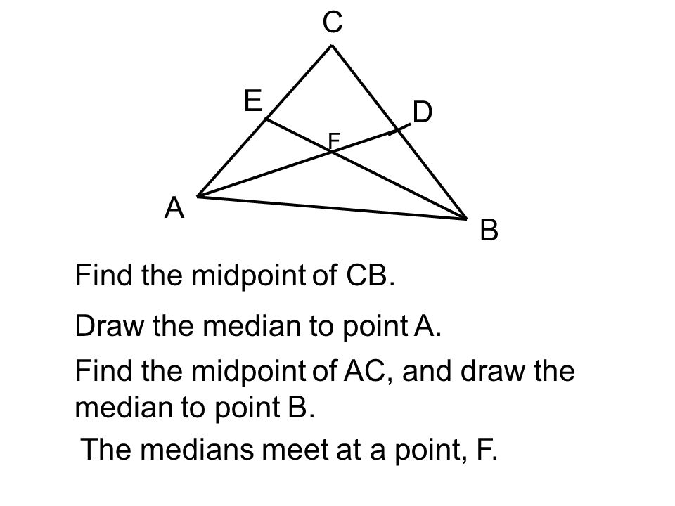 Draw the median to point A.