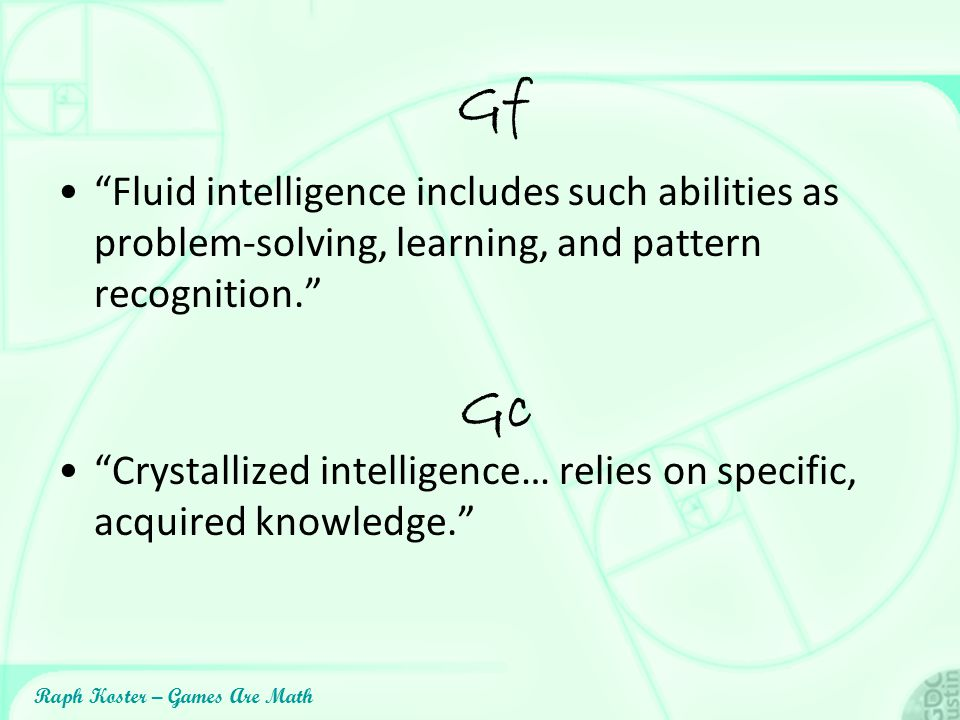 Gf Fluid intelligence includes such abilities as problem-solving, learning, and pattern recognition.
