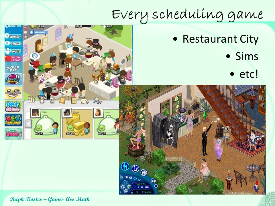 Every scheduling game Restaurant City Sims etc!