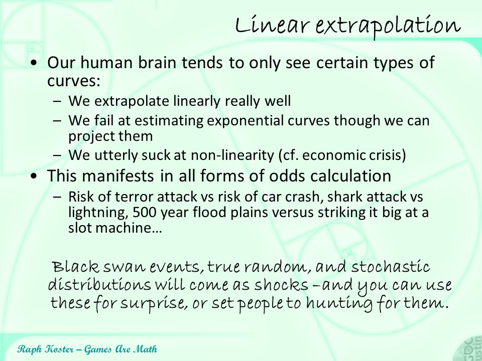 Linear extrapolation Our human brain tends to only see certain types of curves: We extrapolate linearly really well.