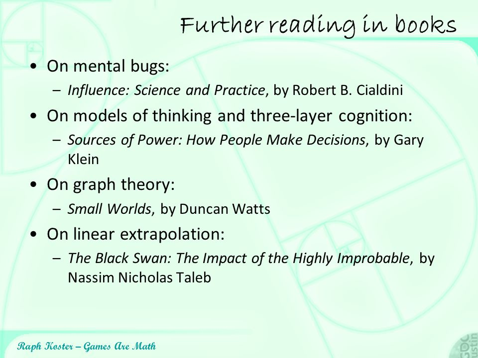 Further reading in books