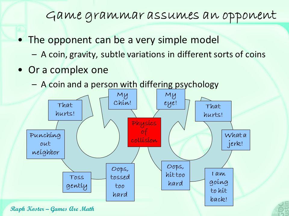 Game grammar assumes an opponent