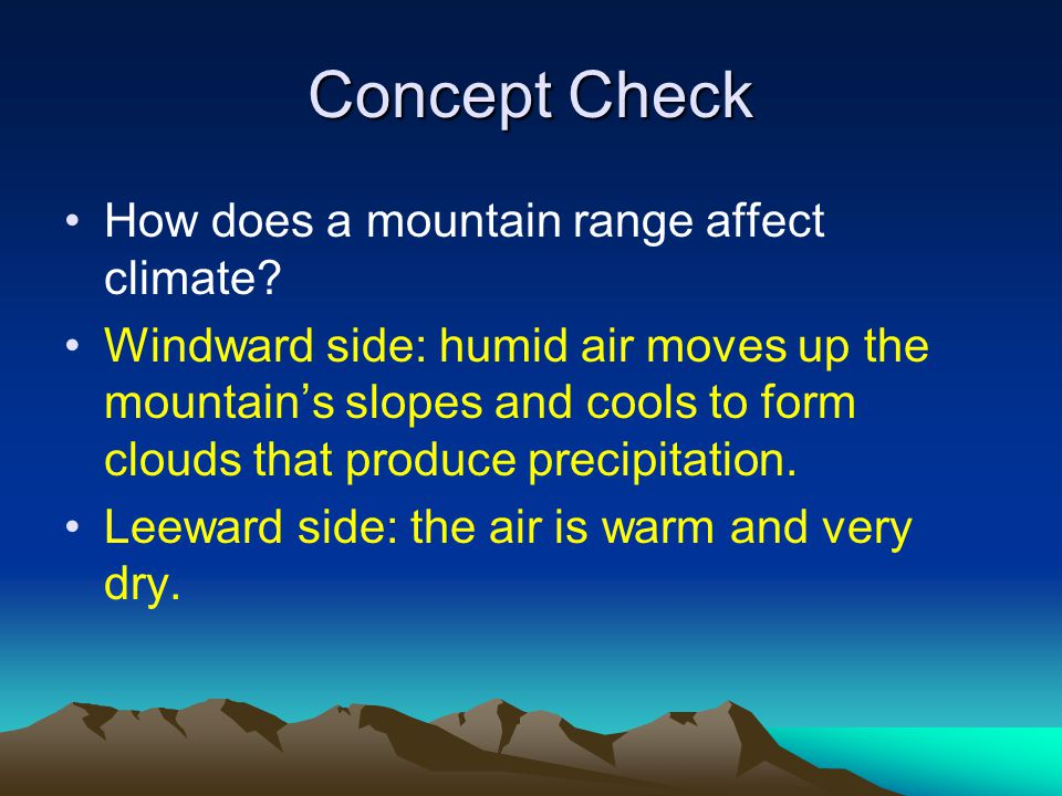 Concept Check How does a mountain range affect climate