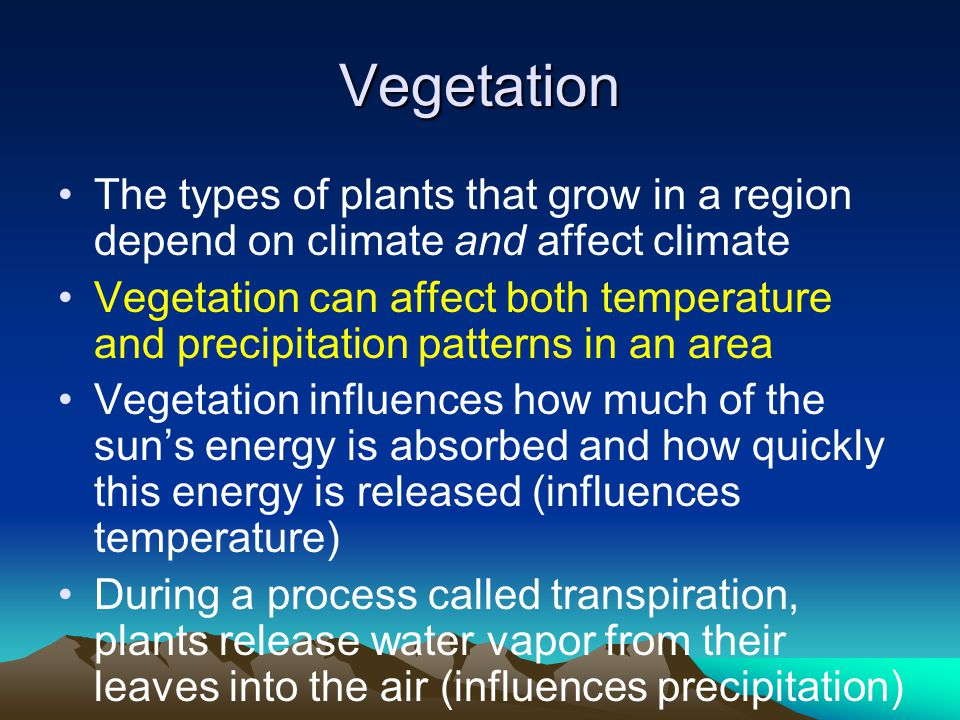 Vegetation The types of plants that grow in a region depend on climate and affect climate.