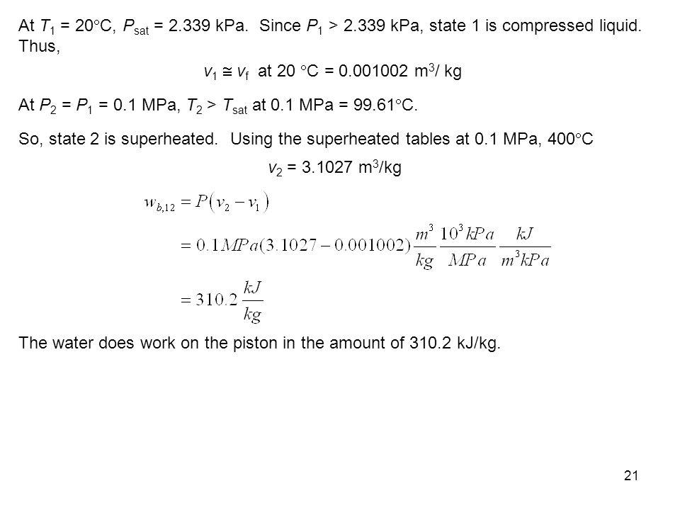 At T1 = 20C, Psat = 2. 339 kPa. Since P1 > 2