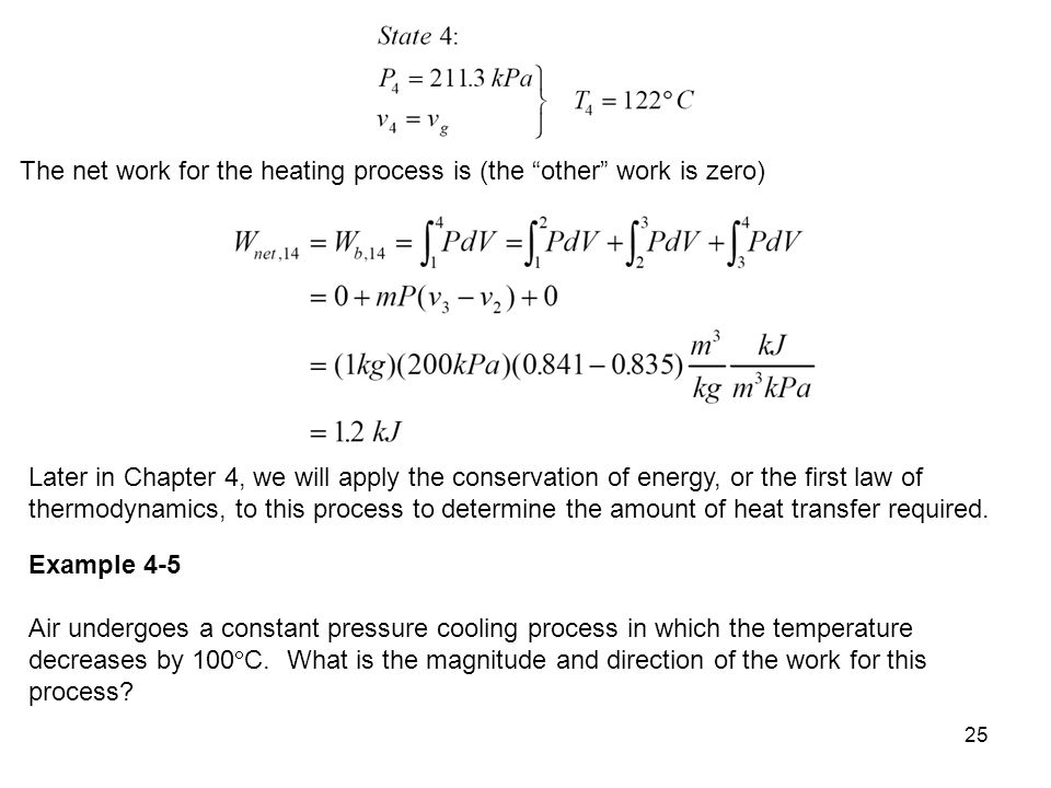 The net work for the heating process is (the other work is zero)