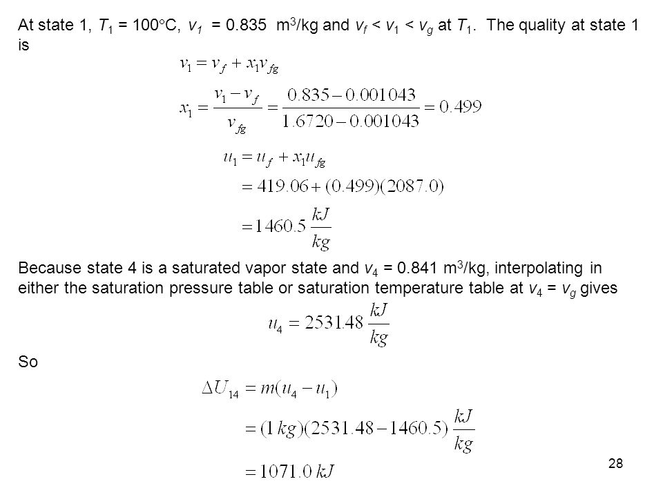 At state 1, T1 = 100C, v1 = 0. 835 m3/kg and vf < v1 < vg at T1