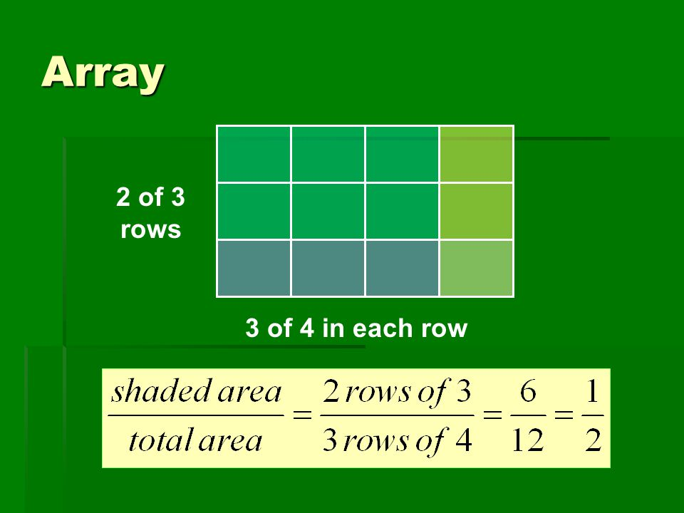 Array 2 of 3 rows 3 of 4 in each row