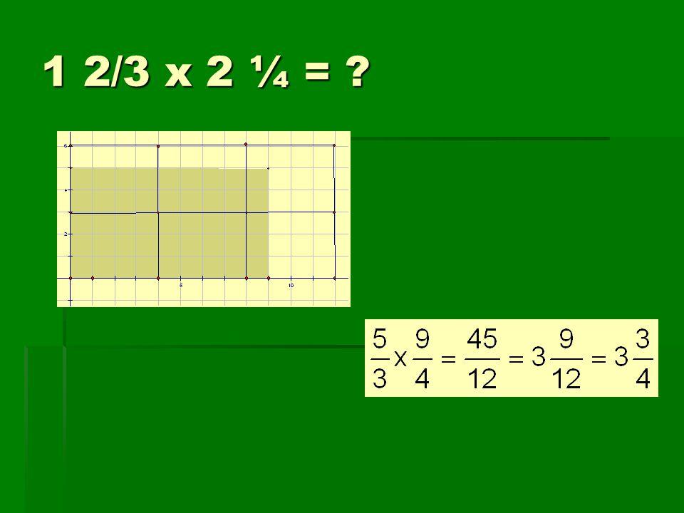 1 2/3 x 2 ¼ =