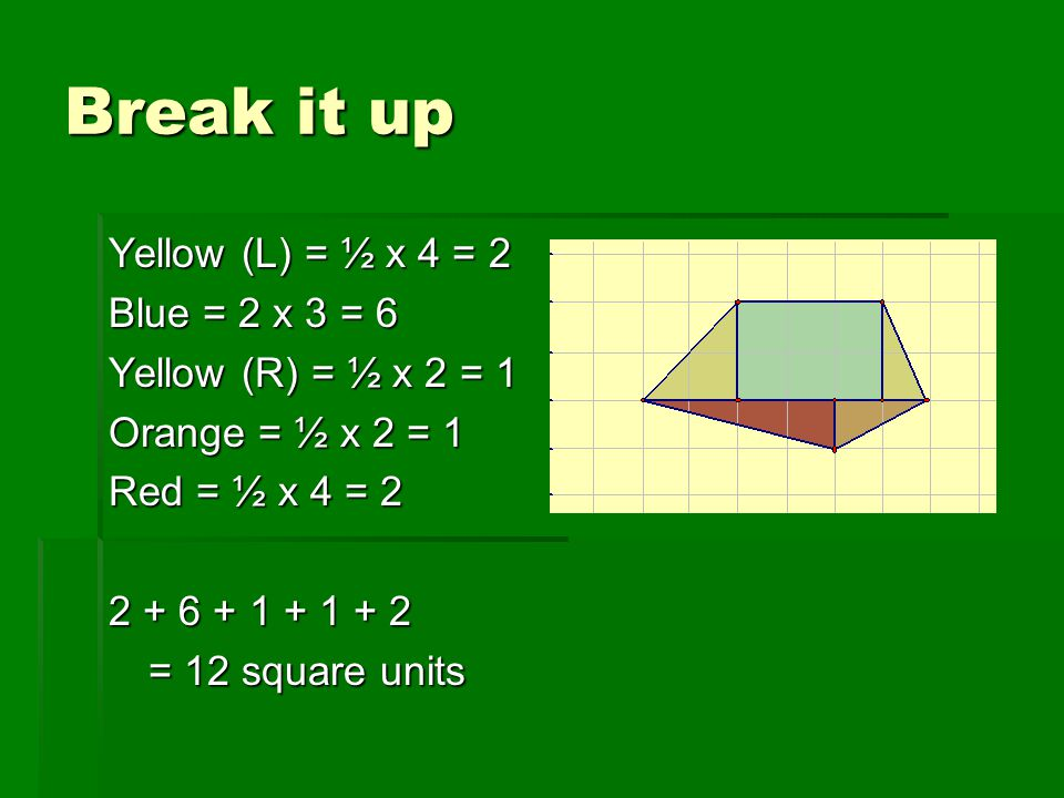 Break it up Yellow (L) = ½ x 4 = 2 Blue = 2 x 3 = 6