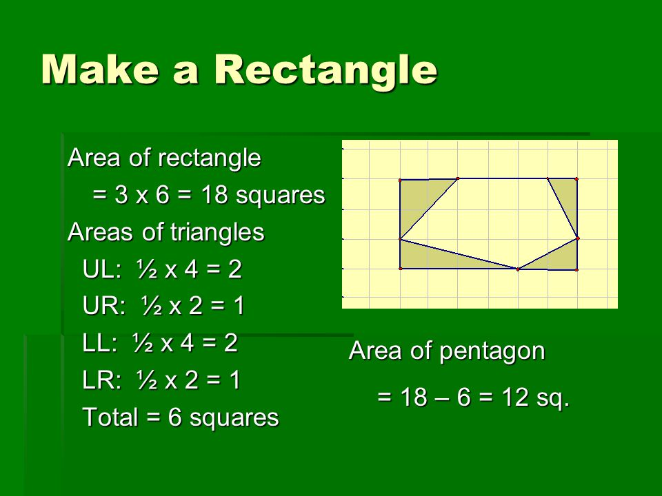 Make a Rectangle Area of rectangle = 3 x 6 = 18 squares