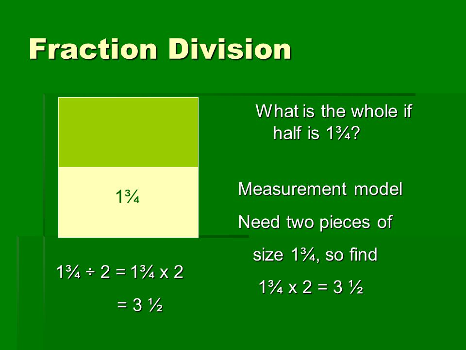 Fraction Division What is the whole if half is 1¾ Measurement model