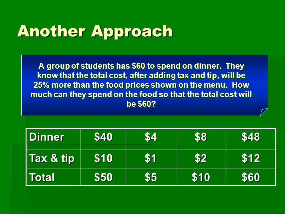 Another Approach Dinner $40 $4 $8 $48 Tax & tip $10 $1 $2 $12 Total