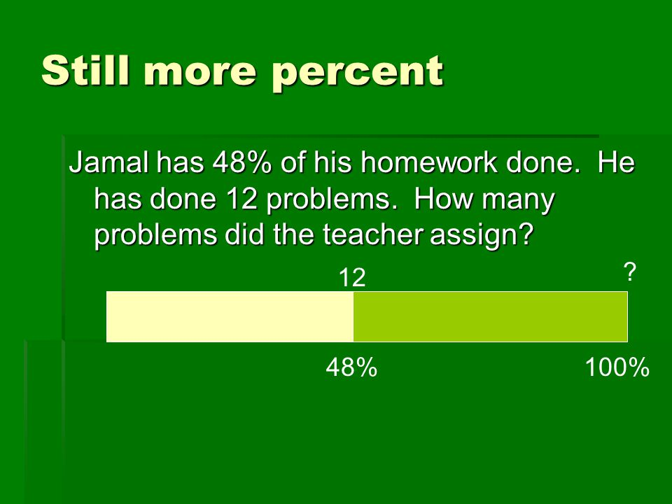 Still more percent Jamal has 48% of his homework done. He has done 12 problems. How many problems did the teacher assign