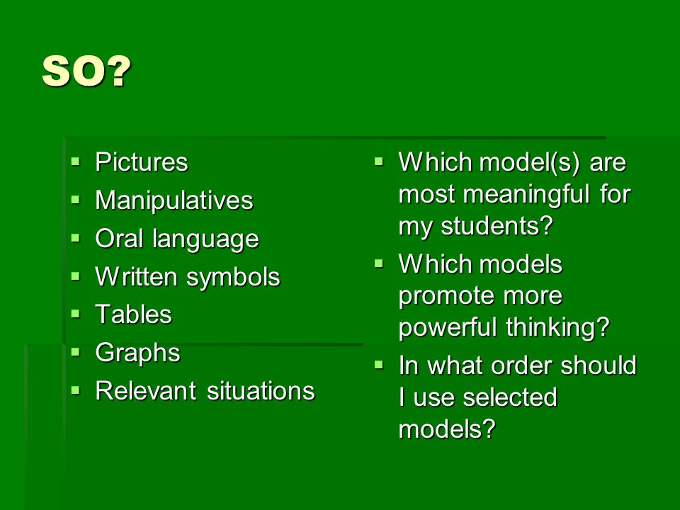 SO Pictures Manipulatives Oral language Written symbols Tables Graphs