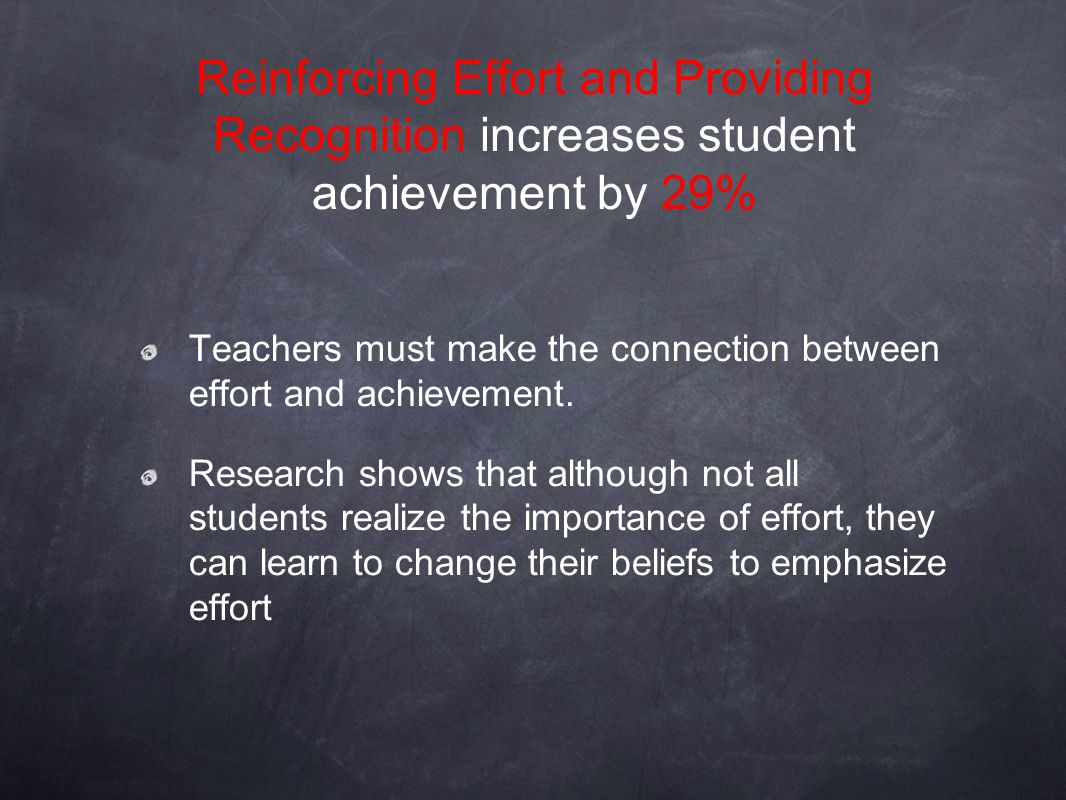 Reinforcing Effort and Providing Recognition increases student achievement by 29%