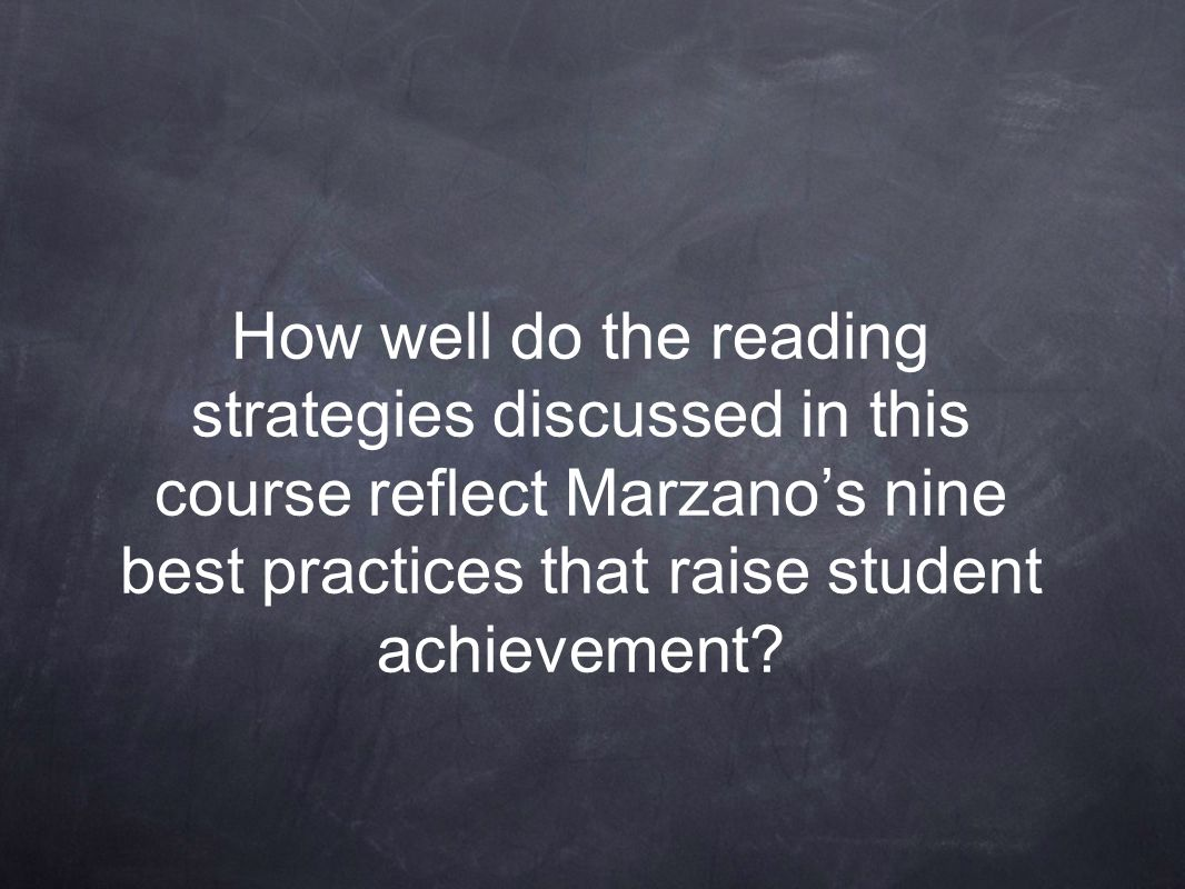 How well do the reading strategies discussed in this course reflect Marzano's nine best practices that raise student achievement