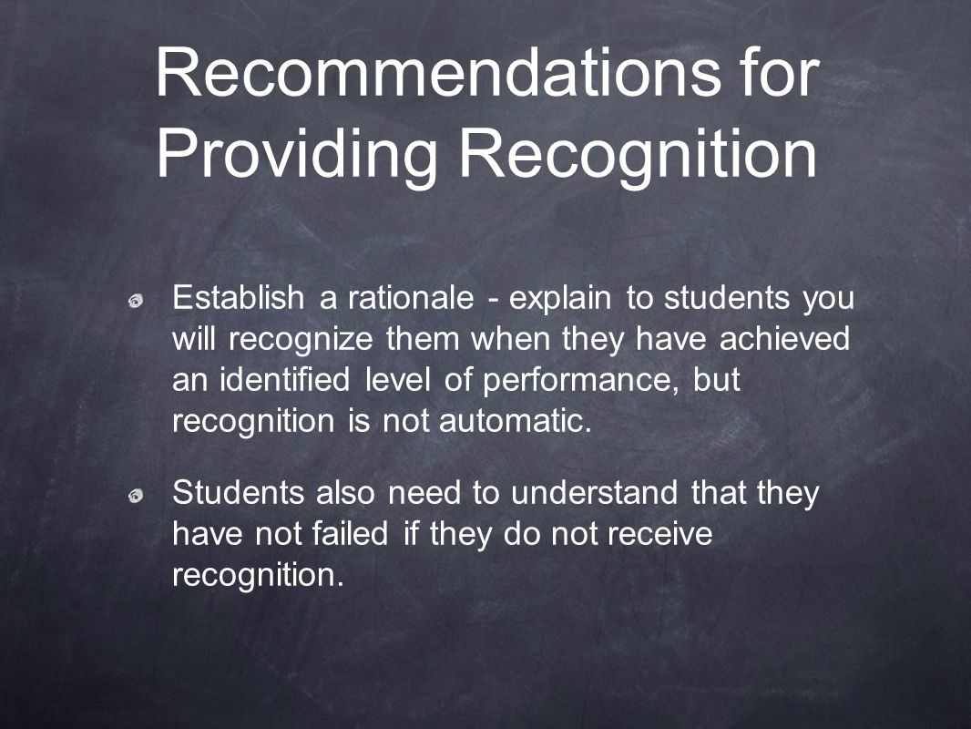Recommendations for Providing Recognition