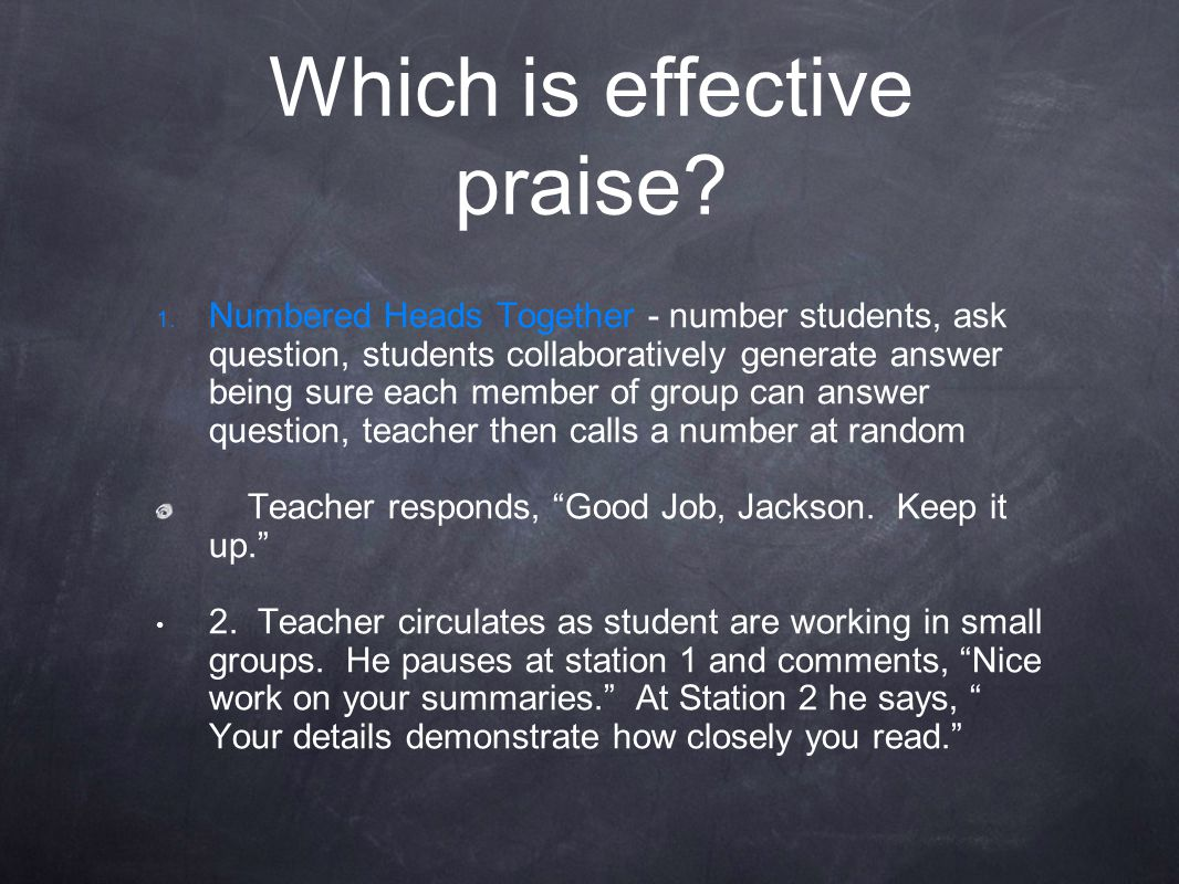 Which is effective praise