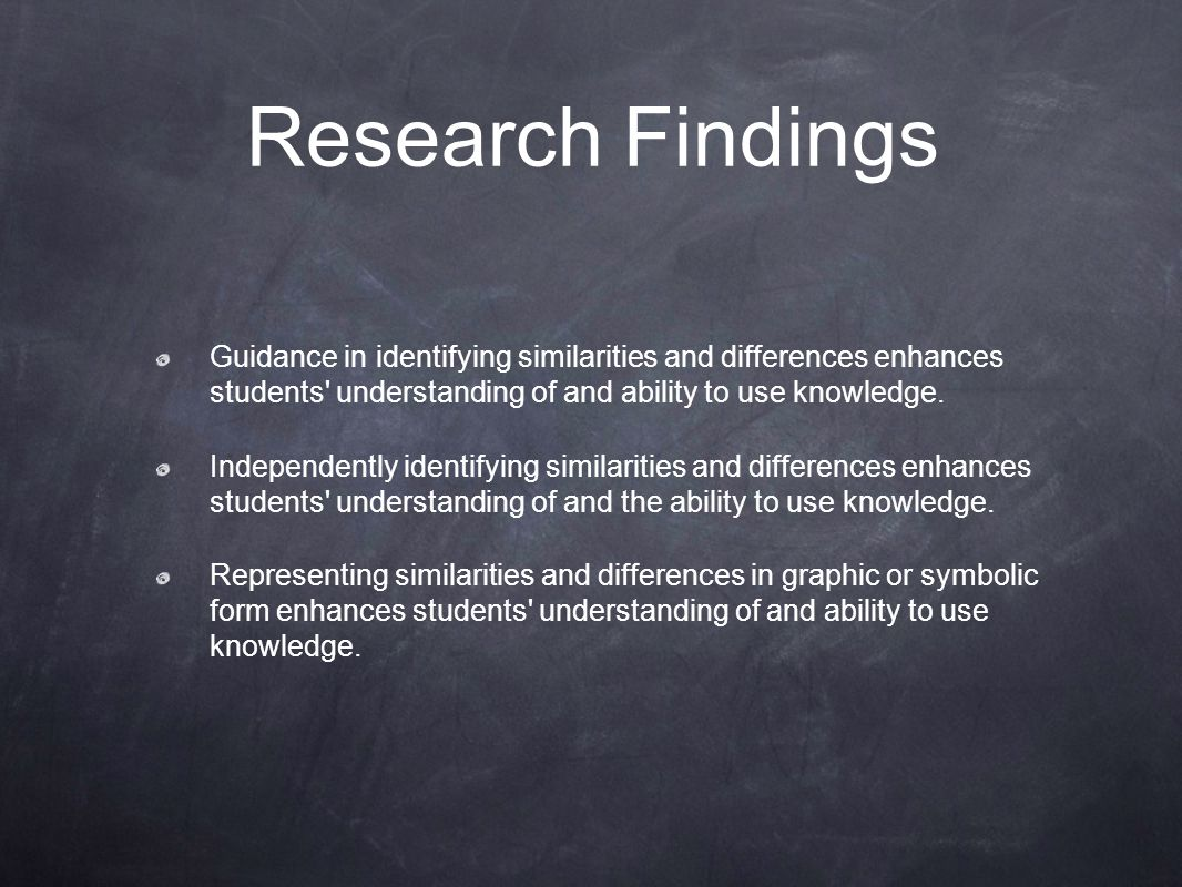 Research Findings Guidance in identifying similarities and differences enhances students understanding of and ability to use knowledge.