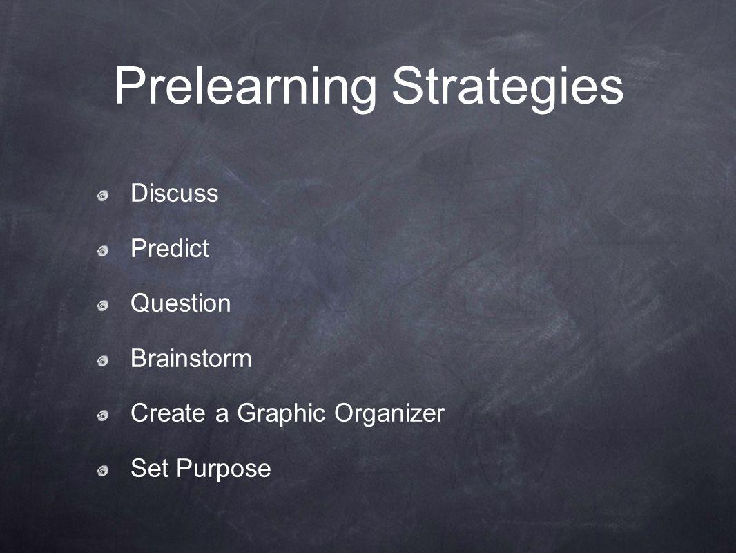 Prelearning Strategies