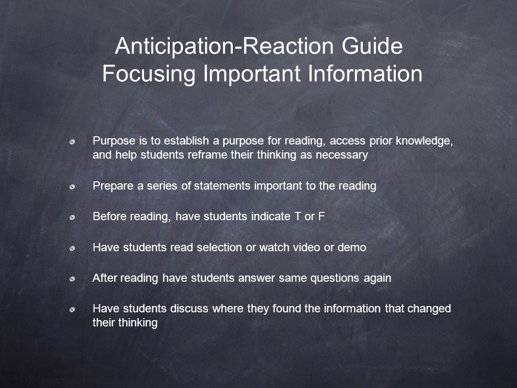 Anticipation-Reaction Guide Focusing Important Information