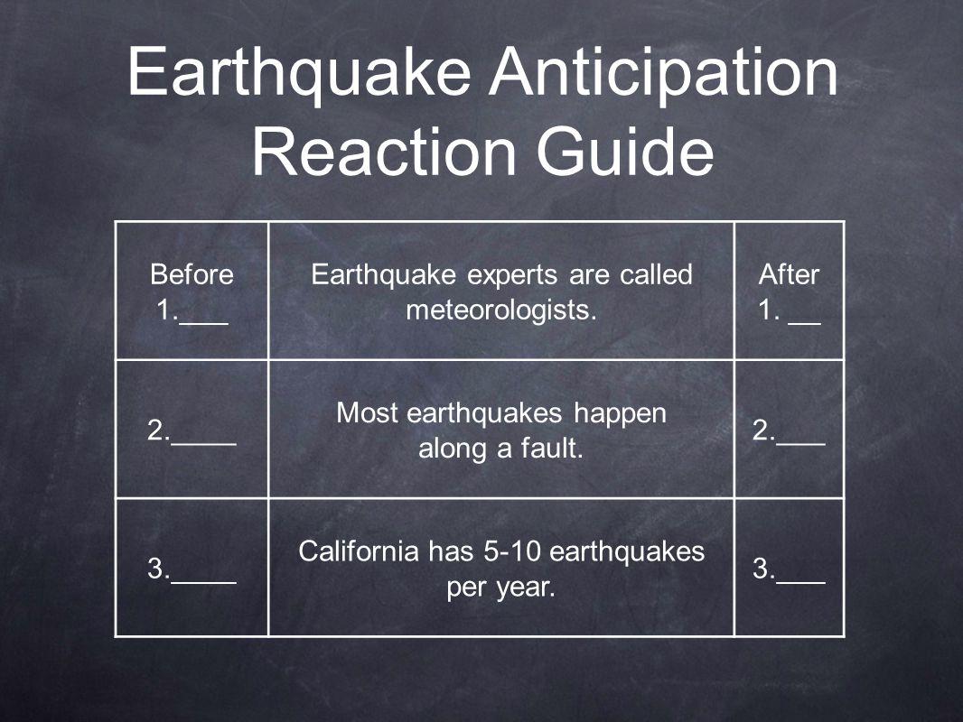 Earthquake Anticipation Reaction Guide