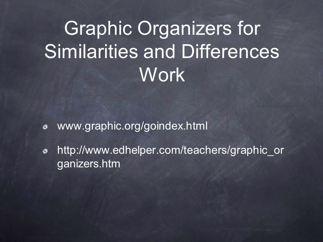 Graphic Organizers for Similarities and Differences Work