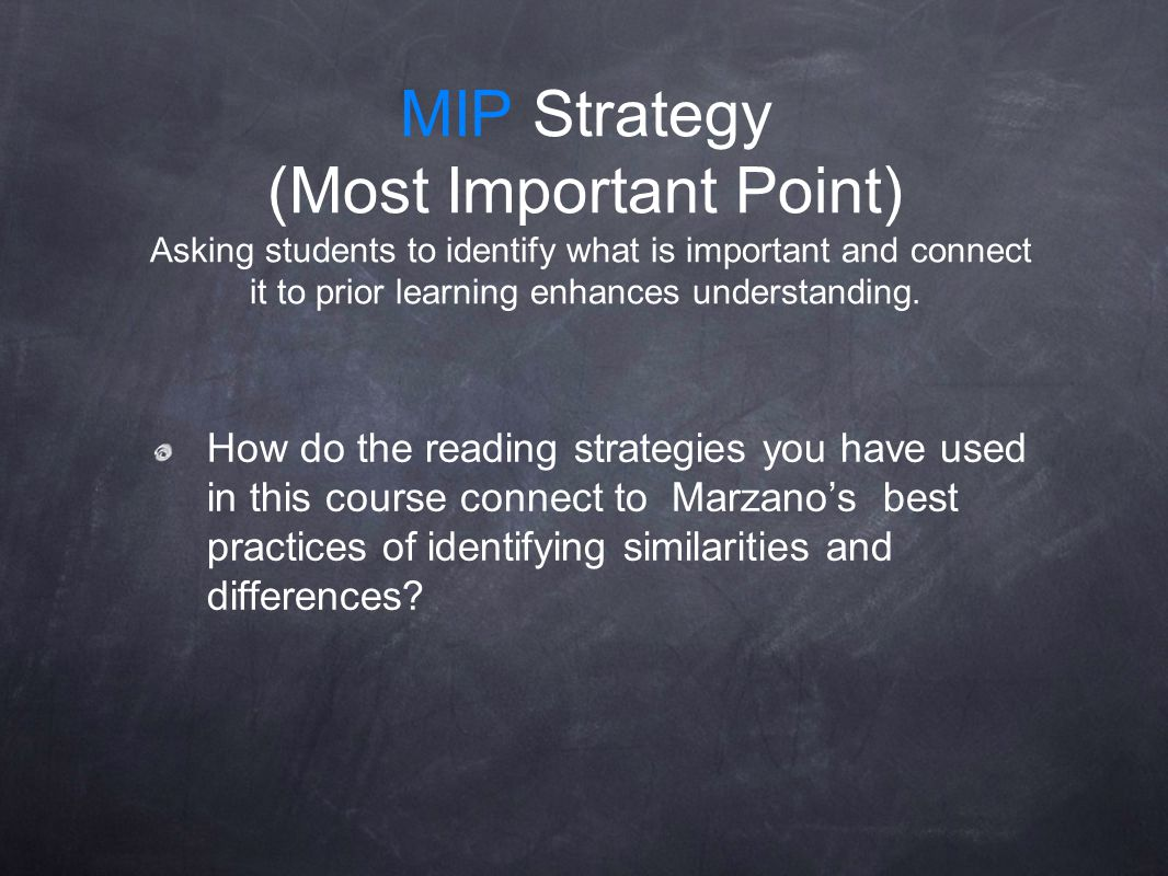 MIP Strategy (Most Important Point) Asking students to identify what is important and connect it to prior learning enhances understanding.