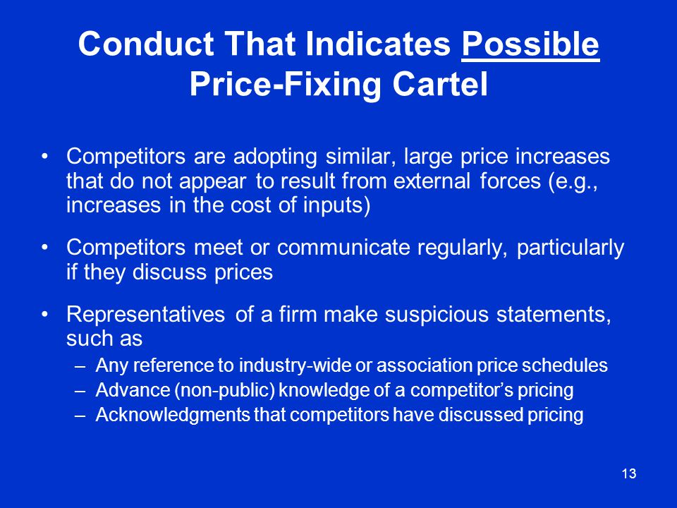 Conduct That Indicates Possible Price-Fixing Cartel