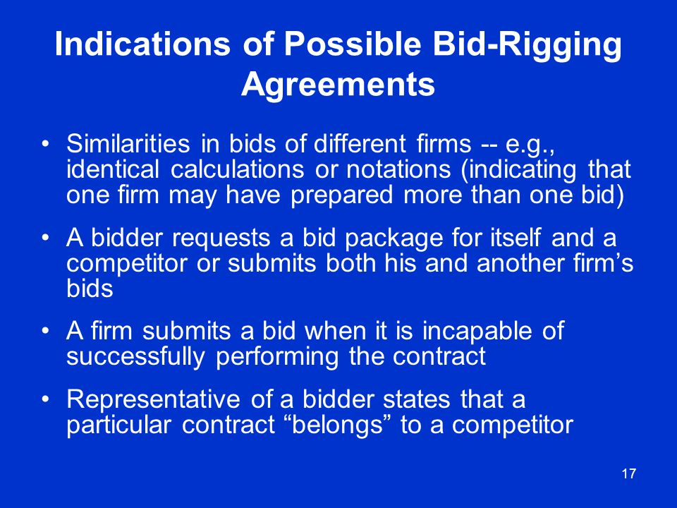 Indications of Possible Bid-Rigging Agreements