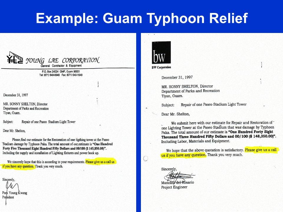 Example: Guam Typhoon Relief