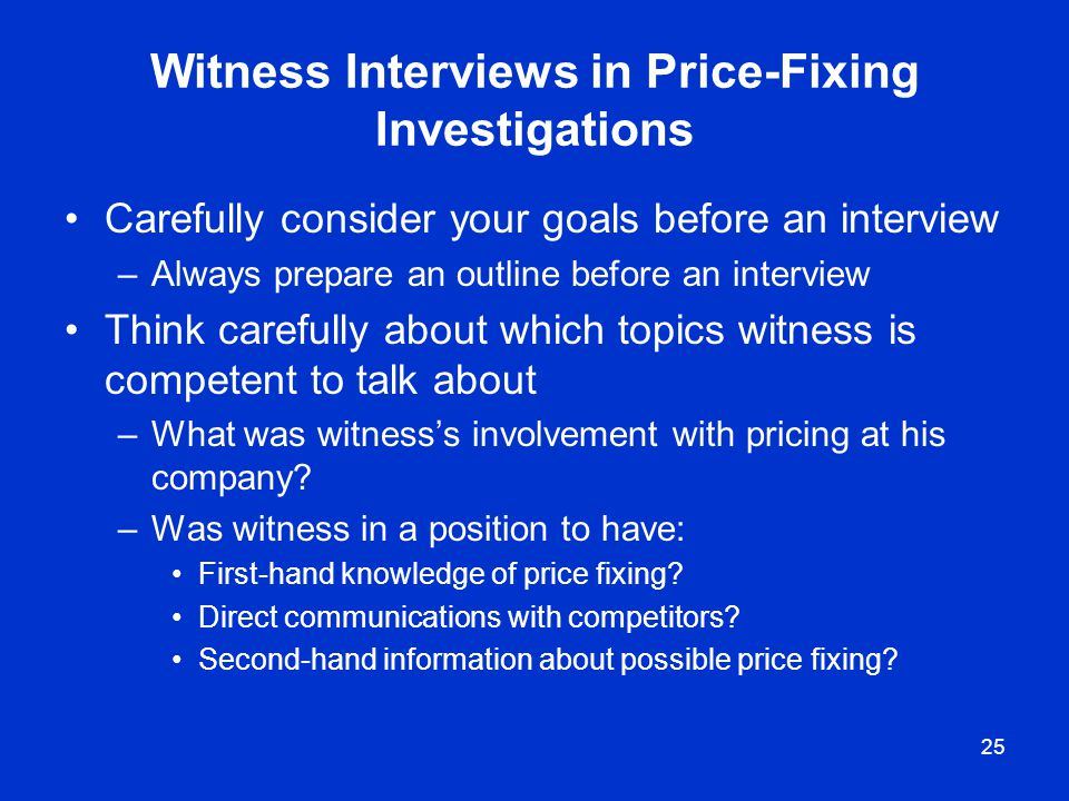 Witness Interviews in Price-Fixing Investigations